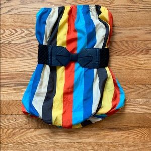 Multi-Color Striped Strapless Top